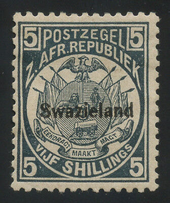 Swaziland 1890 5/- slate-blue MH * with original gum, minor thin point, scarce