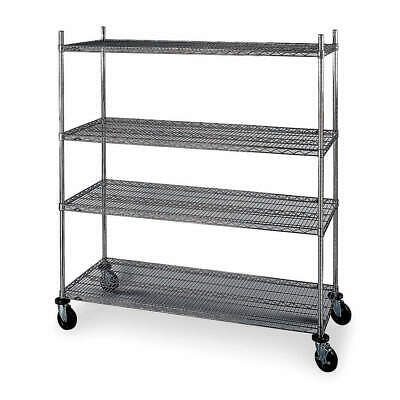 "METRO Wire Shelving,Mobile,69"" H,Chrome, 4W653, Silver"