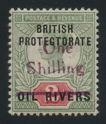 Nigeria - Oil Rivers Protectorate 1893 1/- on 2d violet surcharge MH * orig. gum
