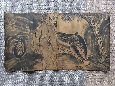 Korea Joseon Dynasty Hermit and Tiger Painting / W 88×H 48 [cm]