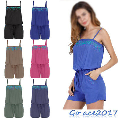 Womens Holiday Strap Mini Playsuit Ladies Summer Shorts Jumpsuit Beach Dress UK