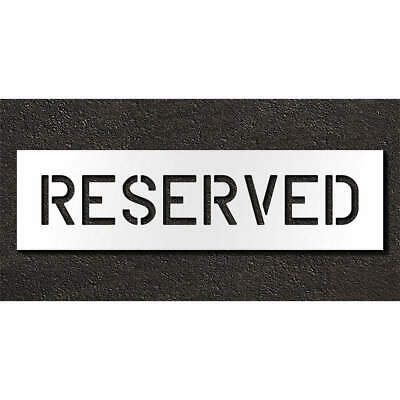 RAE Polyethylene Pavement Stencil,Reserved,6 in, STL-116-70633, Clear