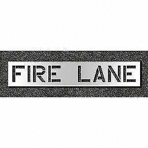 Low Density Polyethylene Pavement Stencil,Fire Lane,12 in, STL-116-71231, Clear