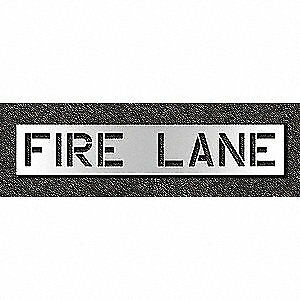 RAE Polyethylene Pavement Stencil,Fire Lane,12 in, STL-116-71231, Clear