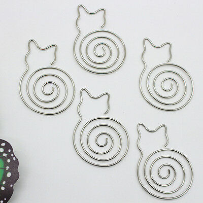 5pcsset Metal Cat Bookmarks Wire Art Paperclip School Office Stationery&