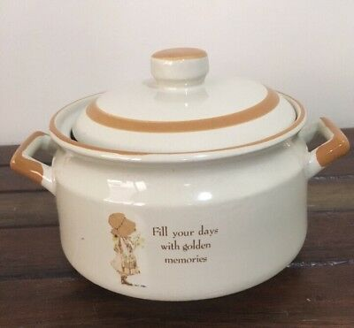Vintage Holly hobbie Casserole Pot With Lid Country Living Stoneware 80's