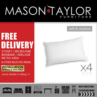 Mason Taylor Giselle Bedding Set of 4 Medium & Soft Cotton Pillows LocalStore#