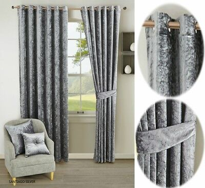 Curtain Pair Fully Lined Heavy Crushed Velvet Ready Made Ring Top Eyelet Tieback