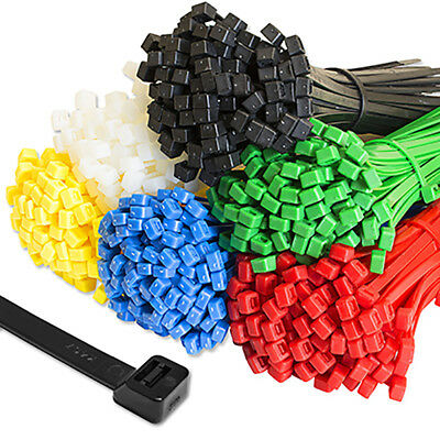 Cable Ties Tie Wraps Plastic Nylon Zip Ties Strong Extra Long All Size & Colours