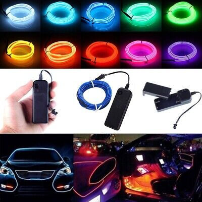 5M/3M Battery Operated Luminescent Neon LED Lights Glow EL Wire Party Rope Strip
