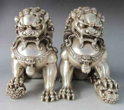 """Chinese old Tibetan silver carved pair foo dog lion statue 4.8"""""""