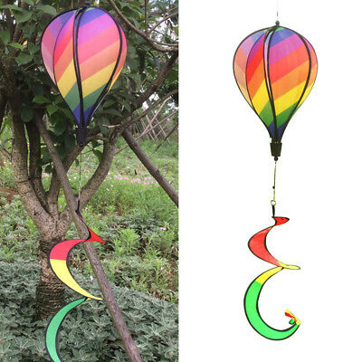 MEXUD-Striped Rainbow Windsock Hot Air Balloon Wind Spinner Multi-Colored Garden