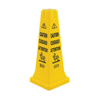 RUBBERMAID COMMERCI Plastic Safety Cone, Caution, Eng/Sp/Fr, FG627700YEL, Yellow