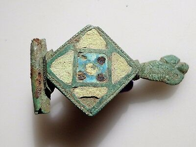 Roman Bronze Enamel Fibula Brooch with broken pin in antiquity.1st-3rd C.