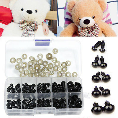 100pcs Black Plastic Safety Eyes for Teddy Bear Doll Making Soft Toys Craft DIY
