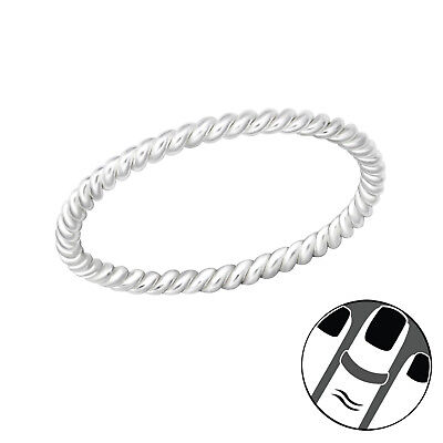 TJS 925 Sterling Silver Midi Ring Rope Twist Band US Size 3.5 Body Jewellery