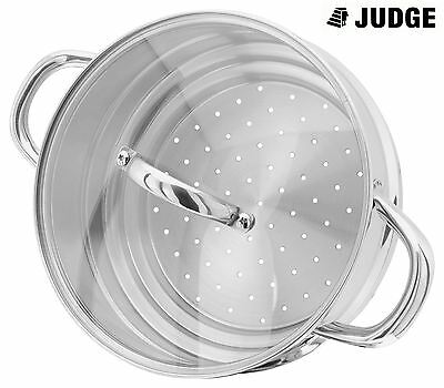 Judge Stainless Steel 16, 18 ro 20cm Steamer Insert with Glass Lid - JX12