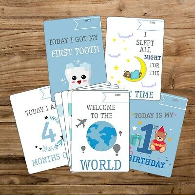 28 Baby's 1St Year Memorable Moments Milestone Cards New Baby Boy / Blue