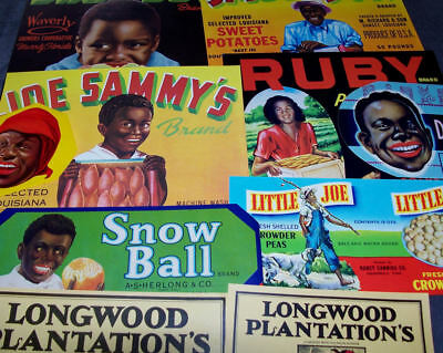 10 Different  Vintage Black Americana  Crate & Can Labels