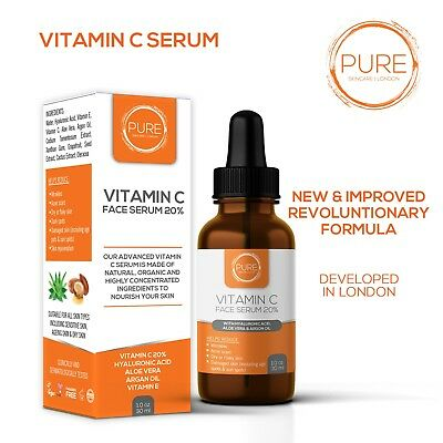 Advanced Vitamin C Serum 20% w Hyaluronic Acid, Aloe Vera, Argan Oil & Vitamin E