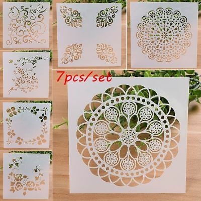 7PCS/SET Craft Embossing Template Wall Painting Scrapbooking Layering Stencils