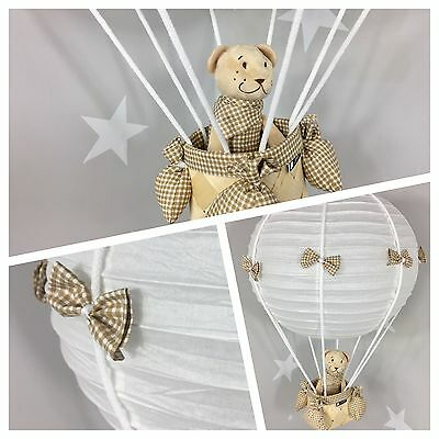 ❤Kinderzimmerlampe ❤ Teddy im Heißluftballon ❤ incl Teddy & Kabel ❤ vichy brown