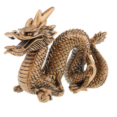 Chinese Feng Shui Dragon Statue Lucky Wealth Figurine Home Ornaments Bronze