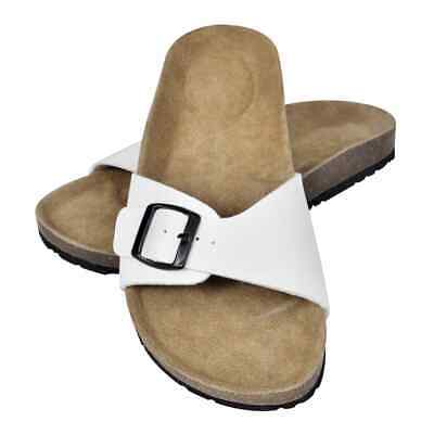 vidaXL Unisex Bio Cork Sandal with 1 Buckle Strap Size 38 White Comfy Slippers