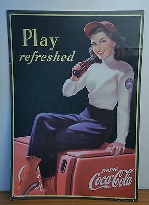 Vintage Coca-Cola Tin Coke Poster Wall Decor Play Refreshed Lady Drinking 1998