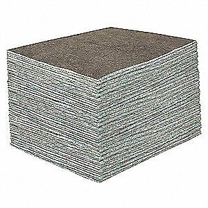 TOOLBO Recycled Cellulose Fibers Absorbent Pad,Universal,Gray,PK100, 23200, Gray
