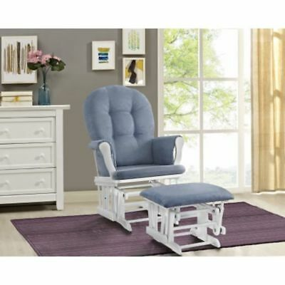 Glider Ottoman Furniture Nursery Chair Baby Rocking Set White With Blue  Cushion