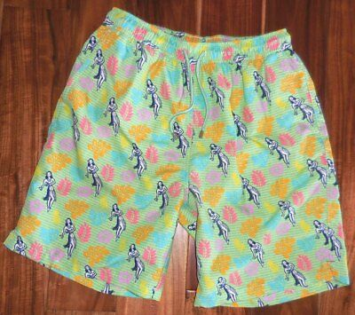 4d278a2f7a574 Peter Millar Authentic Men's Seaside Collection Hula Girl Swim Trunks size M