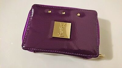 Yves Saint Laurent YSL Purple Cosmetic Pouch Bag with Mirror Brand New