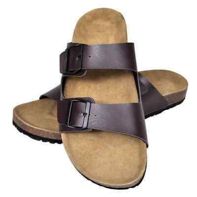 vidaXL Unisex Bio Cork Sandal with 2 Buckle Straps Size 43 Brown Slippers