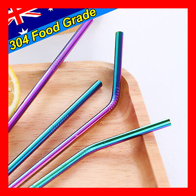4 x RAINBOW Stainless Steel Metal Drinking Straw Straws Bent Reusable Washable