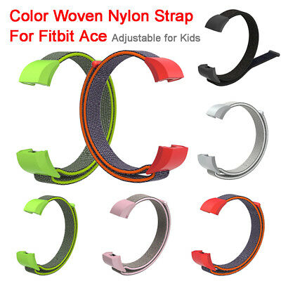 Color Woven Nylon Strap Wristband with Buckle For Fitbit Ace Kids Smart Watch