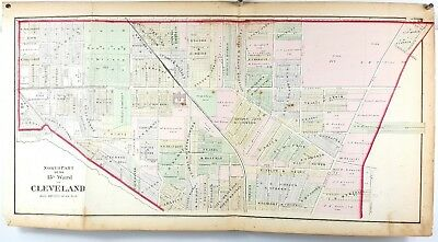 1874 Hand Colored Map of Cuyahoga County Cleveland Ohio - 15th Ward North