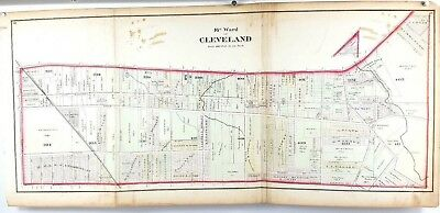 1874 Hand Colored Map of Cuyahoga County Cleveland Ohio - 16th Ward