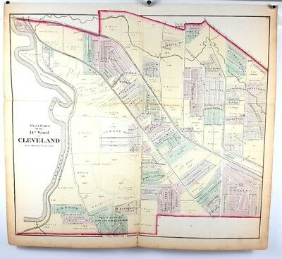 1874 Hand Colored Map of Cuyahoga County Cleveland Ohio - West 14th Ward