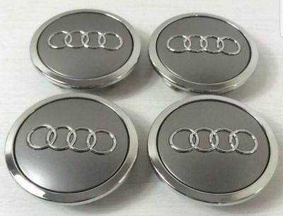 4x AUDI GREY ALLOY WHEEL CENTRE CAPS 69MM FIT: A1 A2 A3 A4 A5 A6 TT RS Q3 Q7