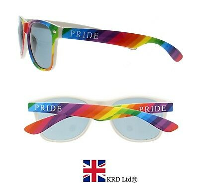 RAINBOW PRIDE SUNGLASSES Dark Glasses Gay Carnival Adult Fancy Dress UV400 UK