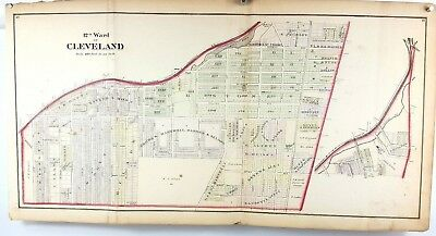 1874 Hand Colored Map of Cuyahoga County Cleveland Ohio - 12th Ward