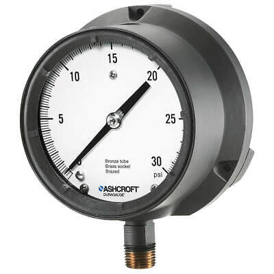 ASHCROFT Pressure Gauge,0 to 30 psi,4-1/2In,1/2In, 451379ASL04L30#