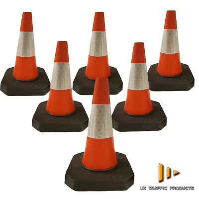 "PACK OF 6 Road Traffic cones 18"" (500mm) Self weighted Safety 100% Reinforced PV"