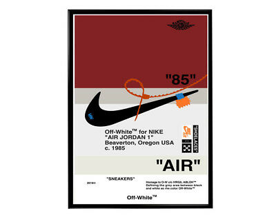 Off White x Nike Red Fan Art Poster Hypebeast Pop Culture Poster Kaws Bape Print