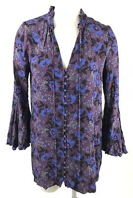 Free People Tunic Dress Small Magic Mystery Bell Sleeve Festival Floral Print