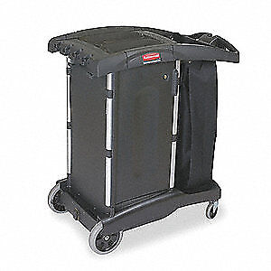 RUBBERMAID Housekeeping Cart,Black,Structural Web, FG9T7700BLA, Black