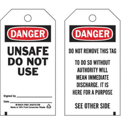 BRADY Danger Tag,5-3/4 x 3 In,Unsafe Dnu,PK25, 76221