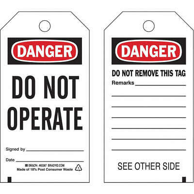BRADY Danger Tag,5-3/4 x 3 In,Do Not Opr,PK25, 65367
