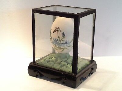 Vintage 1970s Chinese Hand Painted Egg in Wooden & Glass Display Case